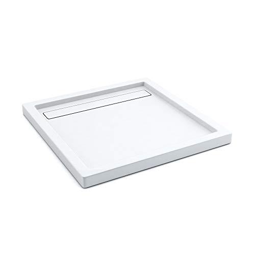 AQUABAD® Duschwanne Comfort Linea Flat 90x90cm Quadrat inkl. Viega Domoplex Ablauf senkrecht