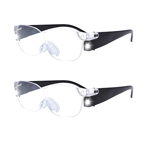 magnification glasses OuShiun LED Magnifier Eyewear Eyeglasses 160% Magnification to See More and Better Magnifying Glasses 2pcs (Black 2pcs, 1.6X)