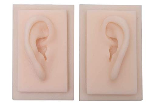 tjz 1 Pair Human Ear Model, Life Size Education Practice Model, Soft Silicone Ear for Acupuncture, Jewelry, Audio Music Recording