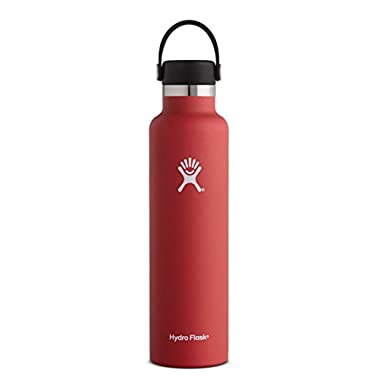 Hydro Flask 24 oz Double Wall Vacuum Insulated Stainless Steel Leak Proof Sports Water Bottle, Standard Mouth with BPA Free Flex Cap, Lava