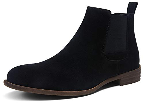 Jousen Men's Chelsea Boots Lightweight Casual Chukka Ankle Boots Classic Elastic Dress Boots for Men (AMY650A Black Suede 10.5)