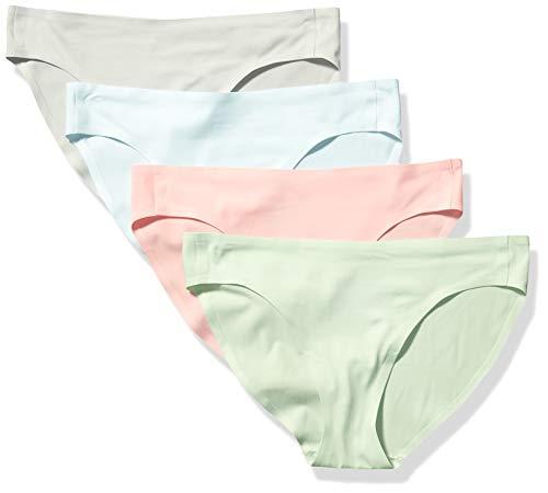 Amazon Essentials 4-Pack Seamless Bonded Stretch Panty bikini-underwear, Cool, L