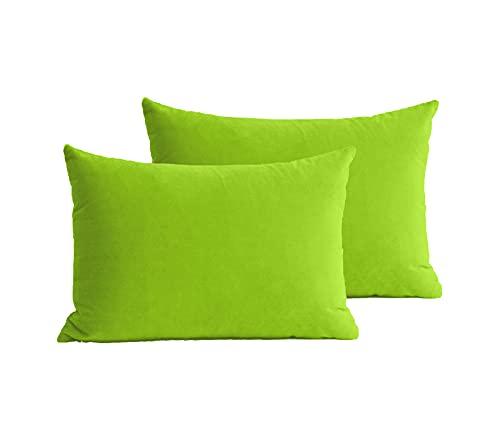 Juego de 2 Fundas de Cojín de Colores para Salón y Dormitorio, Fundas de Loneta con Cremallera Oculta, Decoración de Hogar y Exterior (Verde, 40x60cm)