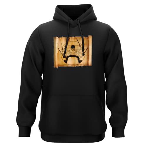 Sweat-Shirt à Capuche Noir Parodie One Piece - Zoro Roronoa - Da Vinci Samurai ! (Sweatshirt de qualité Premium de Taille XXL - imprimé en France)