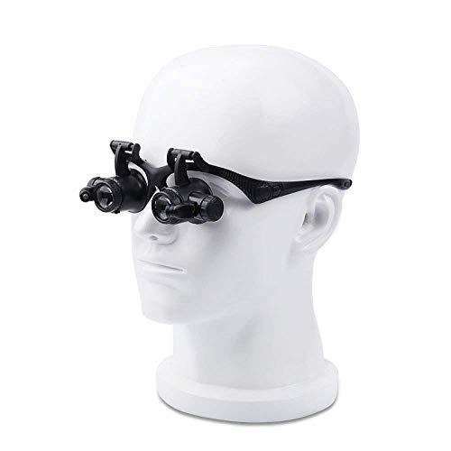 Lupa de Cabeza, Cabeza montada Gafas Lupa 10x 20x Viejo Hombre Lectura Reparación Identificación de joyería con Luces LED HD Negro