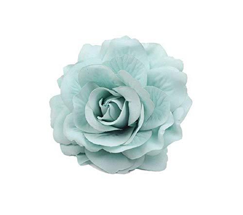 JBR 2X Elegante Haarrose Ansteckrose Ø 10 cm Haarblume mit Schnabelspange Flamenco Accessoires (Mint-2Stück)