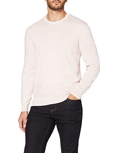 Marca Amazon - MERAKI Jersey de Algodón Hombre Cuello Pico, Rosa (Pale Pink), M, Label: M