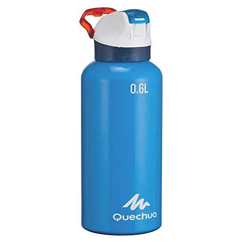 Quechua Trinkflasche 900 Schnellverschluss 0,6 Liter Aluminium Blau- Stabile Flasche für Kinder, Erwachsene - Sport Schule Arbeit Arbeit Auto Reisen zu Hause Wasser Tee Wasserflasche Flasche