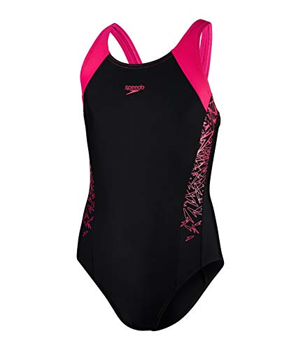 Speedo Boom Splice Muscleback, Costume da Bagno Bambina, Multicolore (Black/Electric Pink), 12 Anni