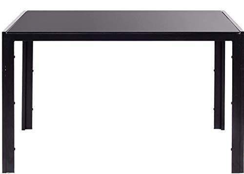 EBS My Furniture Dining Kitchen Table Rectangular Glass Tabletop Meta Leg 115 * 68 * 75cm (Black, 1 Table)