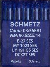 Schmetz Agujas para máquina de coser Industrial: B-27/B-27SES pelota de punto/Jersey enhebra (paquete de 10)–Buy 2Get tercera gratis. + aguja enhebrador B-27 SES - 90/14 (Single Packet)
