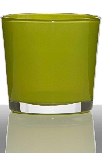 INNA-Glas Lot 2 x Pot de Fleurs Alena, Cylindre - Rond, Vert Clair, 19cm, Ø19cm - Cache-Pot en Verre - Verre décoratif