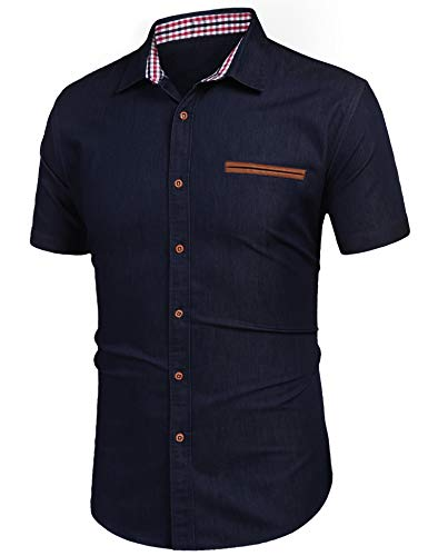 COOFANDY Herren Denim Shirt Körperbetontes Jeans-Hemd Barstow Western Hemden Kariert(Navy blau,XL)