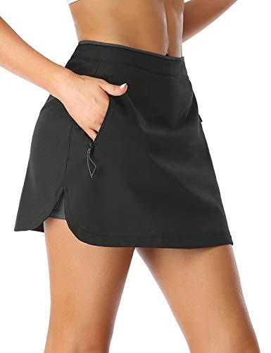 Sevego Damen Sportliche Tennisrock mit Innenhose mit Seitentaschen Mitte Taille Skorts für Workout Training Golf Laufen Schwarz & Dunkel Grau L