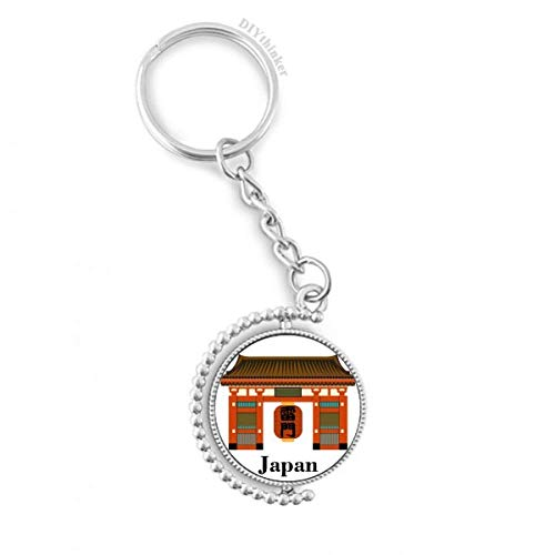 DIYthinker Traditionelle japanische chinesische Lokale Tempel Drehbare Schlüsselanhänger Ringe 1.2 Zoll x 3.5 Zoll Mehrfarbig