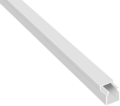 SCOS Smartcosat 10 m Kabelkanal (12 x 12 x 2000 mm (5 Stück a 2 m) B x H x L, Weiß/Weiss/Reinweiß) schraubbar PVC Kunststoff, Aufputz Wand Montage allzweck Kabelleiste, Kabelschacht