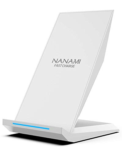 NANAMI Qi ワイヤレス急速充電器 Qi認証済み Quick Charge 2.0/3.0 qi 充電器 スタンド iPhone 12/12 Pro/11/11 Pro/SE2/X/8/8 Plus/XS/iPhone XR/iPhone XS Max、Galaxy S21/S21+/S20/S20+/S10/ S10+ / S10e/ S9/ S9 Plus/ Note9/ Note8/ S8/ S8 Plus、他Qi対応機種 置くだけ充電 ワイヤレスチャージャー 夏のギフト 日本語取扱説明書付属 (白)