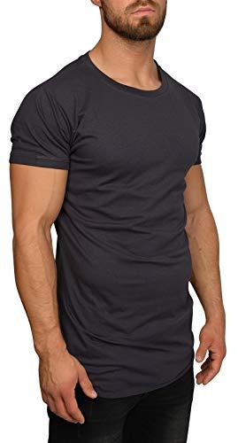 Qulaxity Herren T-Shirt Oversize Rundhals (L, Dark Grey)