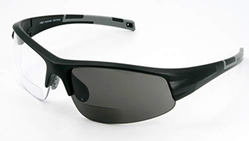 Bifokal Sportbrille mit Wechselgläsern (Stärke +1,50dpt schwarz)