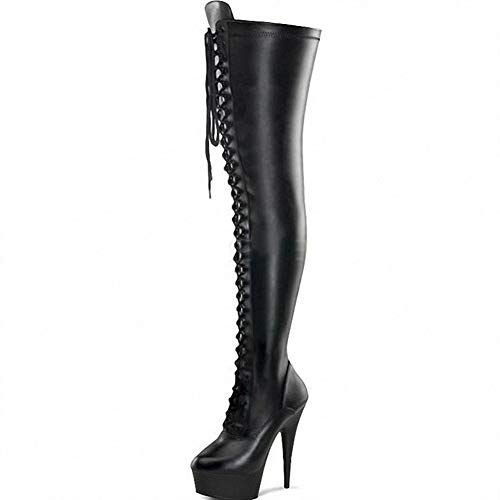 Damenstiefel High Heel/Plateau/Spitze Lackleder Damenstiefel/Overknee Stiefel Fashion Boots/BüHnenshow Catwalk Photo Pole Dance Performance Schuhe,3,EU42/US8.5