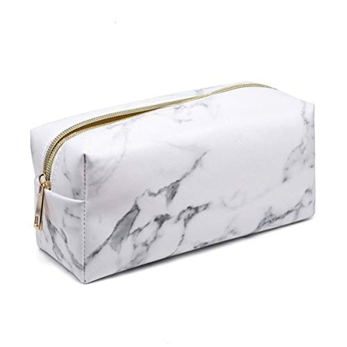 HP95 Multifunction Marble Makeup Pouch Zipped Travel Cosmetic Brush Bag Marble Pencil Pen Pouch Case Stationery Bag (B)