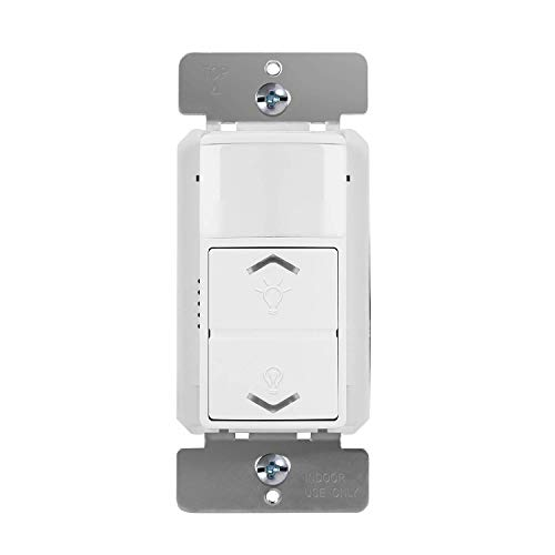 TOPGREENER PIR Motion Sensor with Dimmer Light Switch 150W LED/CFL Occupancy amp Vacancy Modes 3Way or Single Pole TDODS5120 White