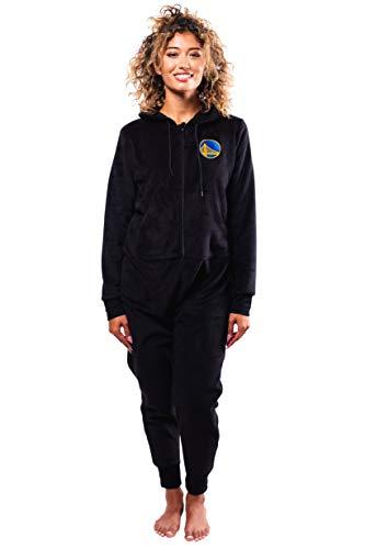 Ultra Game NBA Golden State Warriors Womens Sleepwear Super Soft Fleece Onesie Pajama Hooded Jumpsuit, Black, Large