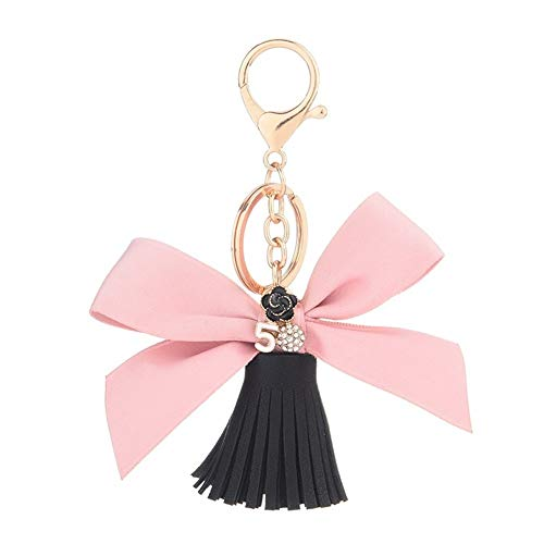 AOSUAI Schlüsselanhänger Mode Schlüsselanhänger Bogen-Knoten-Schlüsselanhänger Geschenke for Frauen Auto-Zubehör Tasche Schlüsselanhänger Halter Schmuck Zubehör Deko (Color : Black)