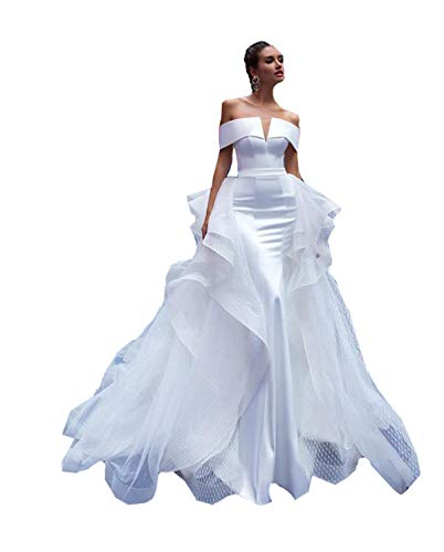 Mermaid Trumpet Off The Shoulder Satin Bridal Ball Gown Wedding Dresses for Women Bride Detachable Train Ruffles Ivory