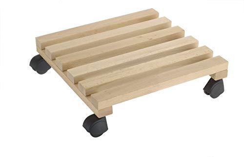 REPLOOD Carrello Quadrato Sottovaso in Legno con 4 Ruote per Fioriera Pedana 30 x 30 Cm