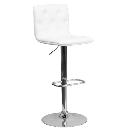 Flash Furniture Contemporary Button Tufted White Vinyl Adjustable Height Barstool with Chrome Base