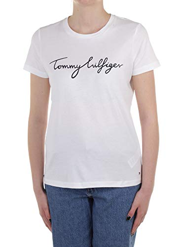 Tommy Hilfiger Women's Heritage Crew Neck Graphic Tee, Classic White, XL