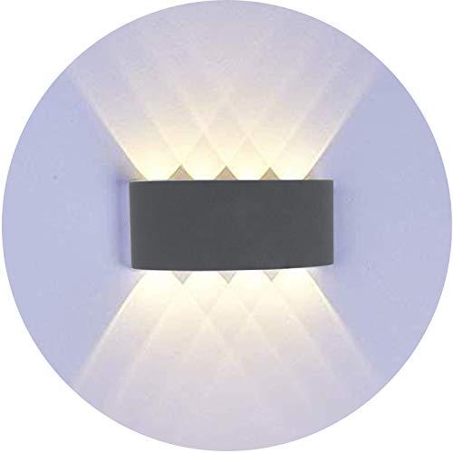 Topmo-plus Apliques de Pared Moderna Lámpara de Pared Exterior IP65 8W Puri COB / Lámpara en Moda Agradable Luz de Ambiente / Porche, Patio, Jardín blanco (8W Gris / Blanco cálido)