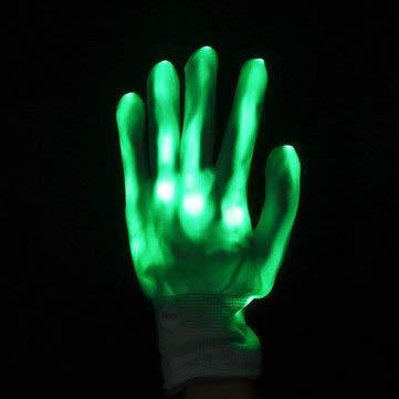 C-Funn LED knipperlicht constant Glow licht op handschoen vinger verlichting Xmas Dance Party Cosplay Groen
