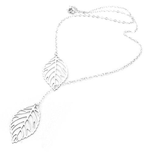Doppio argento/oro-Collana con ciondolo a forma di foglie, da matrimonio