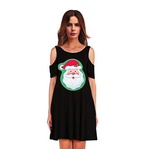 CLOOM Navidad Casual Hombro FríO Falda Midi Moda Impresión Vestidos De Fiesta Cortos Navideño Falda De Manga Corta De Noche Nochebuena Disfraz