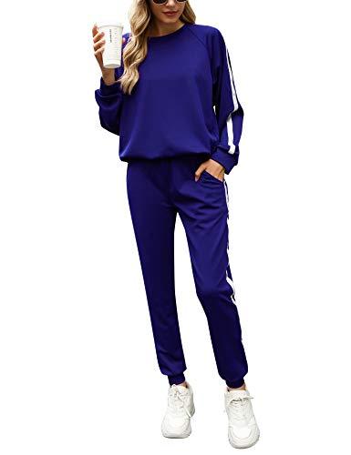 Irevial Tuta Donna Ginnastica, Completi Sportivi Donna Due Pezzi, Tuta Donna Sportiva Completa per Jogging Training Casual Pigiama per Casa