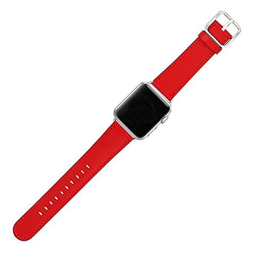 HENHEN Jun Store Reloj de Piel de Cuero Compatible con Apple Watch 38mm / 42mm Classic Genuine Cuero Sport Sport Correa para iWatch (40mm / 44mm) (Band Color : Red, Band Width : 42 44mm)