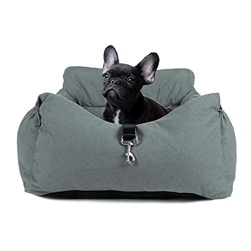 JuneJour Asiento de Coche para Perros Asiento de Coche para Mascotas con Bolsillo de Almacenamiento Apto para Todo Tipo de Coches Cama para Perro Multifunciona(Gris Verde 55 * 50 * 35cm)