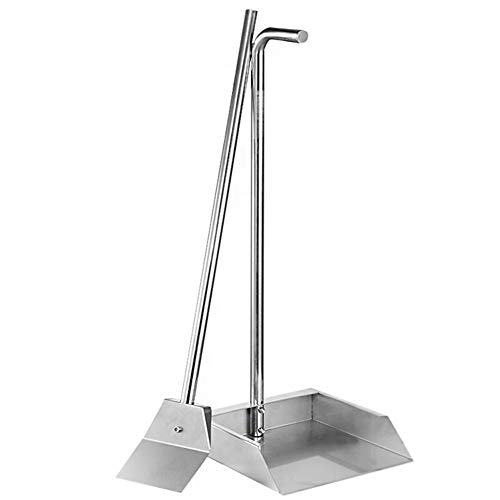FUNAN MOUNTAIN Upright Long Handle Dustpan & Pet Poop Tray, Super durable & solid Household Dustpans, 304 Stainless Steel Construction,Suitable Any Broom, Hand Brush