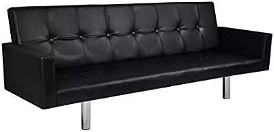 Brilliant Amazon Com Vidaxl Artificial Leather Sofa Sleeper White Pabps2019 Chair Design Images Pabps2019Com