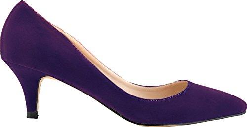Salabobo Zapatos de tacón bajo para mujer con punta puntiaguda, para novia,...