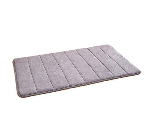 Depory Badteppiche Samt Teppich Türmatte Bodenmatte mit Streifen und Memory Foam, 40x60cm Grau Für Badezimmer Esszimmer