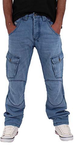 Peviani Cargo Combat - Jeans da uomo, con tasche, colore: blu Stonewash Blue 42W x 33L