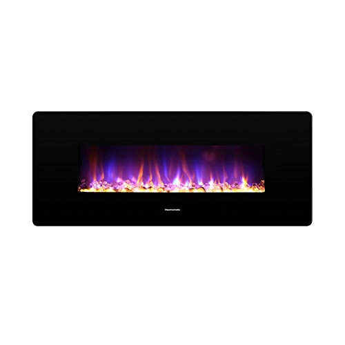 thermomate 42 Inch Electric Fireplace with Thermostat, 1400W Electric Heater with Remote Control and Timer, CSA Certified, Black Décor Dining electric Features Fireplaces Home Kitchen