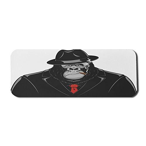 Gorilla Computer Mouse Pad, beeindruckender Orang-Utan-Mafia-Gangster in einem schwarzen Anzug, der eine Zigarre raucht, rechteckiges rutschfestes Gummi-Mousepad Large Black Grey und Vermilion