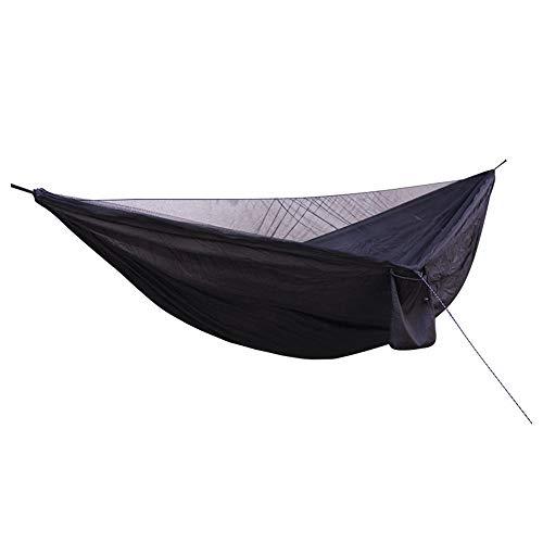 DYJM-OrSt hamac Suspendu,Hamac extérieur en Toile de Parachute, hamac Anti-Moustique élastique pour moustiquaire - Noir