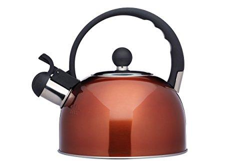 Kitchen Craft Le'Xpress Bollitore di Fischio da 1.3 Litri, Acciaio Inossidabile, Marrone (Rame), 18.2 x 18.2 x 20.3 cm