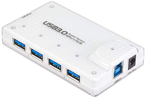 PremiumCord USB 3.0 SuperSpeed Hub 4-Port met voeding en kabel, Supersnelheid 5Gbps, kleur wit