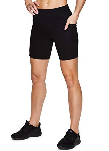 """RBX Active Women's High Waist Cotton Spandex 7"""" Inseam Running Bike Short with Pockets Black 7-inch L"""